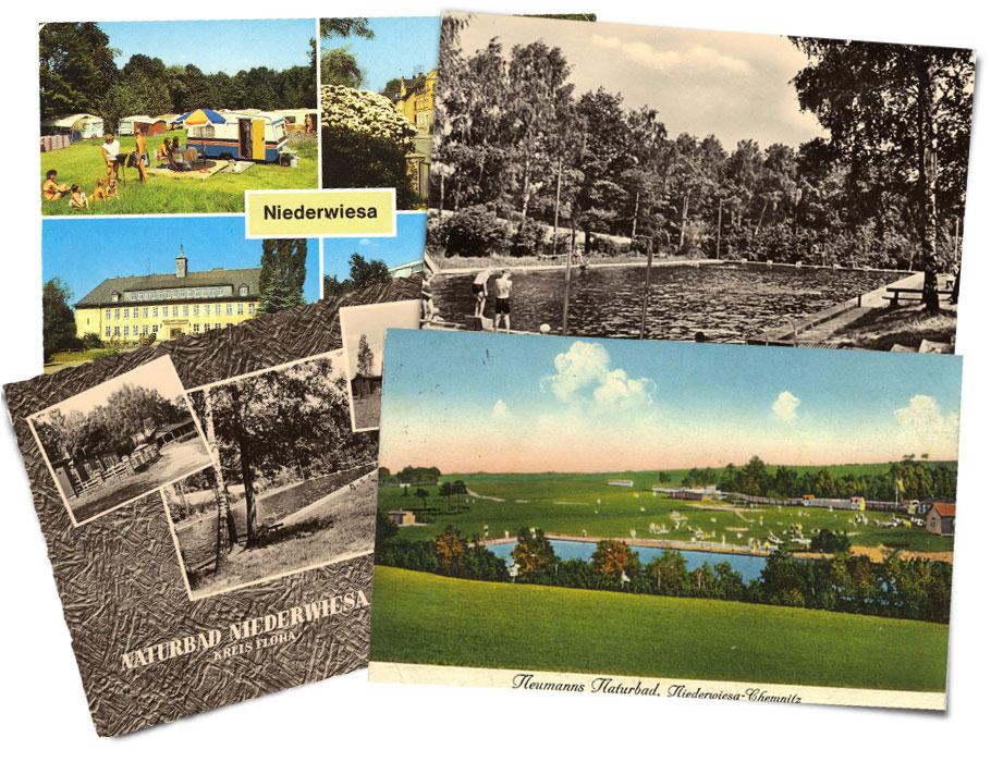 Naturbad Niederwiesa historische Postkarten